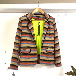 C Luce multicolor knit blazer neon lined size L